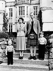 File photo dated 29/04/53 of Queen Elizabeth II with the Duke of Edinburgh and their children, Princess Anne and Prince Charles at Balmoral Castle, Scotland. The Duke of Edinburgh has died, Buckingham Palace has announced. Issue date: Friday April 9, 2020.. See PA story DEATH Philip. Photo credit should read: PA Wire