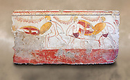 Lucanian fresco tomb painting of men dualing . Paestrum, Andriuolo. 3rd Century BC .<br /> <br /> If you prefer to buy from our ALAMY PHOTO LIBRARY  Collection visit : https://www.alamy.com/portfolio/paul-williams-funkystock - Scroll down and type - Paestum Fresco - into LOWER search box. {TIP - Refine search by adding a background colour as well}.<br /> <br /> Visit our ANCIENT GREEKS PHOTO COLLECTIONS for more photos to download or buy as wall art prints https://funkystock.photoshelter.com/gallery-collection/Ancient-Greeks-Art-Artefacts-Antiquities-Historic-Sites/C00004CnMmq_Xllw