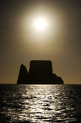 Kicker rock in silhuette, San Cristobal, Galapagos, Equador