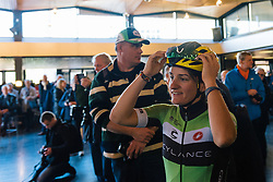 Valentina Scandolara leads the way through the crowds to sign in - Ronde van Drenthe 2016, a 138km road race starting and finishing in Hoogeveen, on March 12, 2016 in Drenthe, Netherlands.