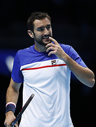 2017?11?12?.    ?????1???——ATP???????????????.       11?12??????????.       ???????????ATP????????????????????????????2?1????????????.       ????????.(SP) BRITAIN-LONDON-TENNIS-ATP FINALS-CILIC VS ZVEREV.(171112) -- LONDON, Nov. 12, 2017  Marin Cilic of Croatia competes during the singles group match against Alexander Zverev of Germany during the Nitto ATP World Tour Finals at O2 Arena in London, Britain on Nov. 12, 2017. Alexander Zverev won 2-1. (Credit Image: © Han Yan/Xinhua via ZUMA Wire)