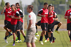 04.07.2014, Trainingsplatz, Augsburg, GER, FS Vorbereitung, FC Augsburg, im Bild Die FCA Neuzugaenge Raphael Holzhauser (# 8, FC Augsburg) li, Nikola Djurdjic (# 36, FC Augsburg) 2.v.l. und Shawn Parker (# 9, FC Augsburg) 5.v.l. beim Training // during a practice session of German 1st Bundesliga Club FC Augsburg at the Trainingsplatz in Augsburg, Germany on 2014/07/04. EXPA Pictures © 2014, PhotoCredit: EXPA/ Eibner-Pressefoto/ Fastl<br /> <br /> *****ATTENTION - OUT of GER*****