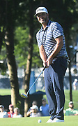 ST. LOUIS, MO - AUGUST 09: Scott Piercy gets ready to putt on the #10 green during the first round of the PGA Championship on August 09, 2018, at Bellerive Country Club, St. Louis, MO.  (Photo by Keith Gillett/Icon Sportswire)