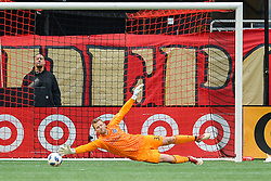 October 21, 2018 - Atlanta, GA, U.S. - ATLANTA, GA Ð OCTOBER 21:  Chicago goalkeeper Patrick McLain (32) attempts to make a save during the match between Atlanta United and the Chicago Fire on October 21st, 2018 at Mercedes-Benz Stadium in Atlanta, GA.  Atlanta United FC defeated the Chicago Fire by a score of 2 to 1.  (Photo by Rich von Biberstein/Icon Sportswire) (Credit Image: © Rich Von Biberstein/Icon SMI via ZUMA Press)