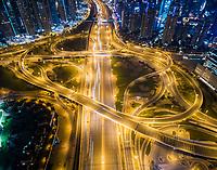 Aerial view of the traffic at night in Dubai, U.A.E.
