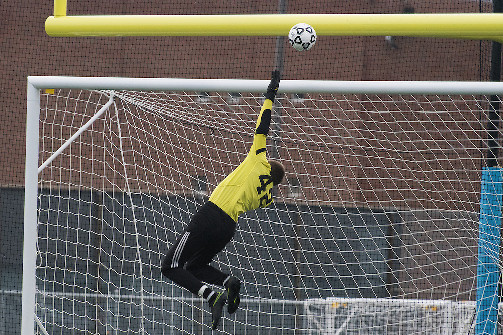 Lake Region goalie Liam Kennedy (42) makes a save during the division II boys soccer championship game between the Rangers and the Milton Yellow Jackets at South Burlington high school on Saturday morning November 5, 2016 in South Burlington.   (BRIAN JENKINS/for the FREE PRESS)