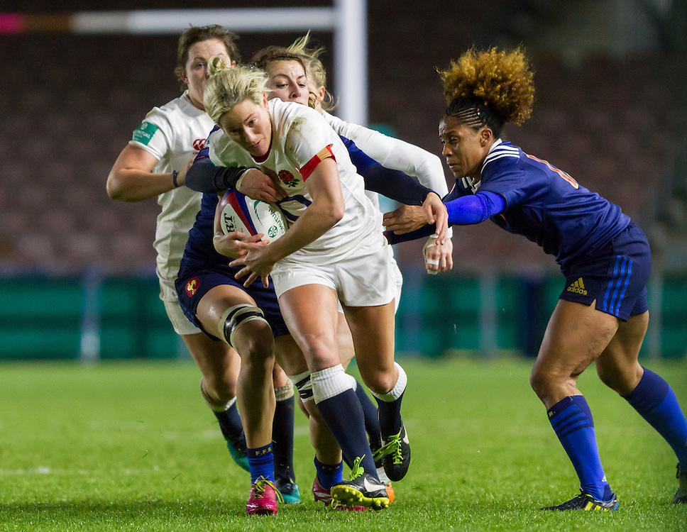 Claire Allan in action, England Women v France Women in an Old Mutual Wealth Series, Autumn International match at Twickenham Stoop, Twickenham, England, on 9th November 2016. Full Time score 10-5