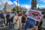 """British Ghurka soldiers took to the streets in central London on Wednesday, Aug 18, 2021 - to protest against as they say: """".. discrimination, exploitation and disgrace of a historic injustice"""". They say that the British government is ignoring their demands to be treated equally with other fellow British soldiers pension schemes. (VX Photo/ Vudi Xhymshiti)"""