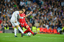 May 2, 2018 - Madrid, Spain - MADRID, SPAIN. May 1, 2018 - Cristiano Ronaldo shoots on goal. With a 2-2 draw against Bayern Munchen, Real Madrid made it to the UEFA Champions League Final for third time in a row. Kimmich and James scored for the german squad while Karim Benzema did it twice for los blancos. Goalkeeper Keylor Navas had a great night with several decisive interventions. (Credit Image: © VW Pics via ZUMA Wire)