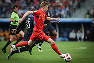 Kevin De Bruyne of Belgium and N'Golo Kante of France during the 2018 FIFA World Cup Russia, Semi Final football match between France and Belgium on July 10, 2018 at Saint Petersburg Stadium in Saint Petersburg, Russia - Photo Thiago Bernardes / FramePhoto / ProSportsImages / DPPI