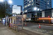 Night scene on Broad Street in Birmingham, United Kingdom.