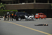 Jan. 14, 2016 - Jakarta, Indonesia - SARINAH, JAKARTA, JAN 14: <br /> <br /> <br /> Victims of a terrorist bomb attack at the traffic police station adjacent to starbucks cafe at Sarinah and Jakarta, causing about 6 people were killed on January 14, 2016.<br /> ©Exclusivepix Media