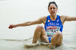 Laura Strati of Italy competes in the Long Jump Women Qualification on day two of the 2017 European Athletics Indoor Championships at the Kombank Arena on March 4, 2017 in Belgrade, Serbia. Photo by Vid Ponikvar / Sportida