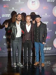 Simon Neil, Ben Johnston and James Johnston of Biffy Clyro.<br /> Red carpet at the MTV EMA, Glasgow.