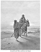 The Flight Into Egypt or Joseph Leads Mary and Jesus into Egypt [Matthew 2:13-14] From the book 'Bible Gallery' Illustrated by Gustave Dore with Memoir of Dore and Descriptive Letter-press by Talbot W. Chambers D.D. Published by Cassell & Company Limited in London and simultaneously by Mame in Tours, France in 1866