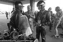 Pat Simmons of the Doobie Brothers chats with fellow riders before the start on the final day stage 16 (142 miles) of the Motorcycle Cannonball Cross-Country Endurance Run, which on this day ran from Yakima to Tacoma, WA, USA. Sunday, September 21, 2014.  Photography ©2014 Michael Lichter.
