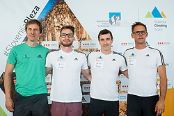 Coaches of Slovenian National Climbing team: Anze Stremfelj, Domen Svab, Gorazd Hren and Luka Fonda before new season, on June 30, 2020 in Koper / Capodistria, Slovenia. Photo by Vid Ponikvar / Sportida
