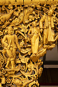 Golden Figure Carvings at the Shwedagon Pagoda complex. situated on Singuttara Hill in the center of Yangon (Rangoon), Myanmar