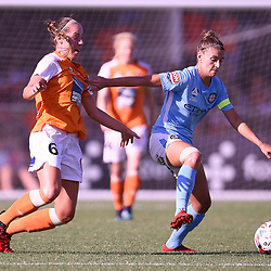 BRISBANE, AUSTRALIA - FEBRUARY 11: Celeste Boureille of the Roar and Stephanie Catley of Melbourne compete for the ball during the Westfield W-League Semi Final match between the Brisbane Roar and Melbourne City at Perry Park on February 11, 2018 in Brisbane, Australia. (Photo by Patrick Kearney / Brisbane Roar)