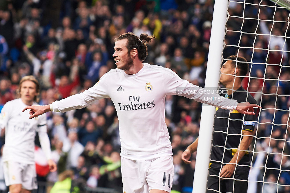 Gareth Bale (midfielder; Real Madrid) in action during La Liga match between Real Madrid and Sevilla FC at Santiago Bernabeu on March 20, 2016 in Madrid
