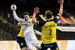 Miha Zarabec of Slovenia during handball match between National Teams of Sweden and Slovenia at Day 3 of IHF Men's Tokyo Olympic  Qualification tournament, on March 14, 2021 in Max-Schmeling-Halle, Berlin, Germany. Photo by Vid Ponikvar / Sportida