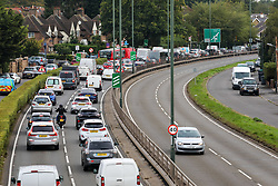 © Licensed to London News Pictures. 07/09/2020. London, UK. Heavy traffic on the A3 in South West London this morning despite train companies putting on more services for commuters today. Prime Minister Boris Johnson has continued to call for workers to return to their offices to help revive the economy and local service industries. Photo credit: Alex Lentati/LNP
