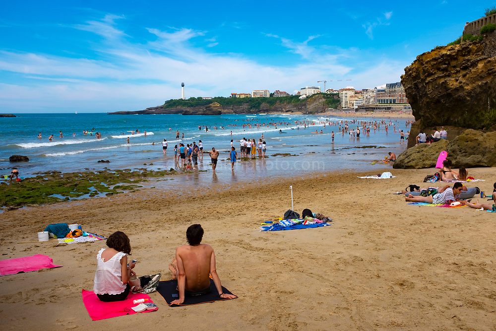 Social distancing on the Grand Plage, Biarritz, France, during the Covid 19 Pandemic in 2020