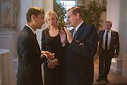 FRANCOIS LE TROQUER; LADY DERBY; LORD DERBY, Cartier Tank Anglaise launch. Kensington Palace Orangery, London.  19 April 2012.