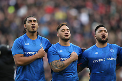 Samoa captain Chris Vui (left) sings his national anthem before the Autumn International at Twickenham Stadium, London.