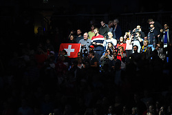 November 12, 2017 - London, United Kingdom - Fans attend Roger Federer of Switzerland and Jack Sock of the USA play the opening singles round robin match  during the Nitto ATP World Tour Finals at O2 Arena, London on November 12, 2017. (Credit Image: © Alberto Pezzali/NurPhoto via ZUMA Press)