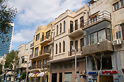 A renovated building in Herzl street, Tel Aviv, Israel . One of the original buildings of Tel Aviv from 1909 (Then Ahuzat Bayit)