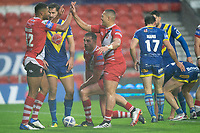 Rugby League - 2020 Coral Challenge Cup - Salford Red Devils vs Warrington Wolves - TW Stadium, St Helen's<br /> <br /> Salford Red Devils's Kallum Watkins celebrates scoring his sides first try<br /> <br /> COLORSPORT/TERRY DONNELLY