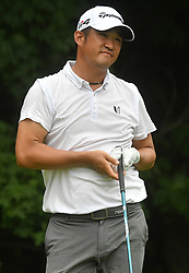 July 15, 2018 - Silvis, Illinois, U.S. - SILVIS, IL - JULY 15:  John Huh reacts after hitting his tee shot on the #2 hole during the final round of the John Deere Classic on July 15, 2018, at TPC Deere Run, Silvis, IL.  (Photo by Keith Gillett/Icon Sportswire) (Credit Image: © Keith Gillett/Icon SMI via ZUMA Press)