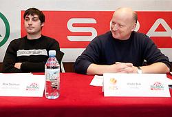 Rok Dezman of Union Olimpija and Vlado Bek of Vrhnika during press conference of KZS before final basketball tournament of Spar Cup 2012, on February 14, 2012, in Austria Trend Hotel, Ljubljana, Slovenia. (Photo by Grega Valancic / Sportida.com)