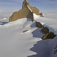 ANTARCTICA, Queen Maud Land. Fenris Mountains. North face of 2931m Ulvetanna.