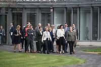14 NOV 2018, POTSDAM/GERMANY:<br /> Das komplette Kabinett Merkel auf dem Weg zum Gruppenfoto, in der ersten Reihe: Urlsula von der Leyen, CDU, Bundesverteidigungsministerin, Dorothee Baer, CSU, Staatsministerin fuer Digitales, Angela Merkel, CDU, Bundeskanzlerin, Andreas Scheuer, MdB, CSU, Bundesminister fuer Verkehr und digitale Infrastruktur, (v.L.n.R.), Klausurtagung des Bundeskabinetts, Hasso Plattner Institut (HPI), Potsdam-Babelsberg<br /> IMAGE: 20181114-01-107<br /> KEYWORDS; Kabinett, Klausur, Tagung, freundlich, fröhlich, froehlich, Dorothee Bär