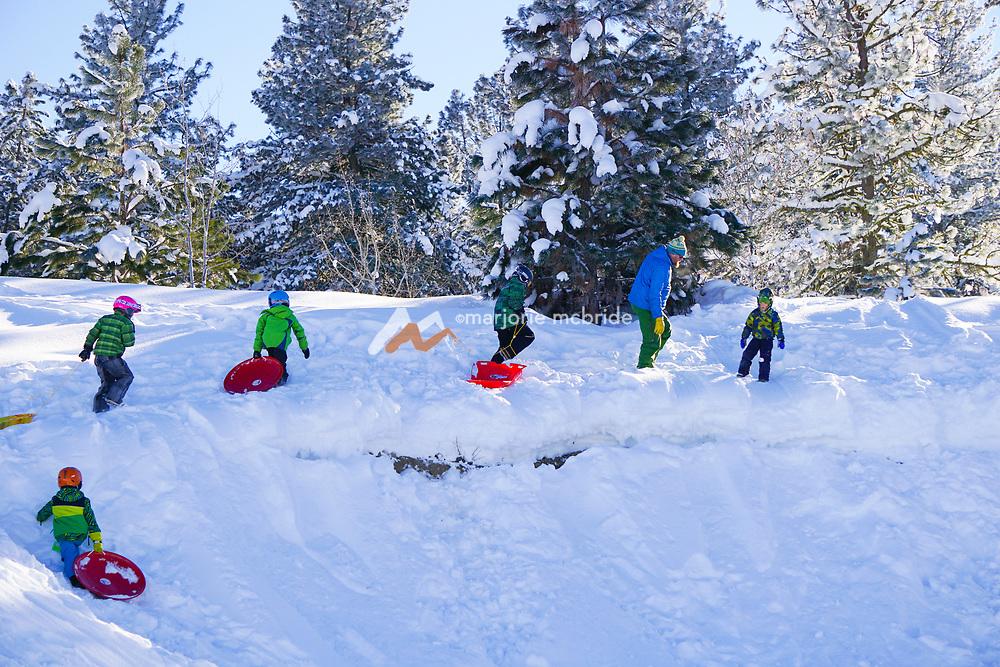 Family fun sledding in McCall, Idaho during winter. MR