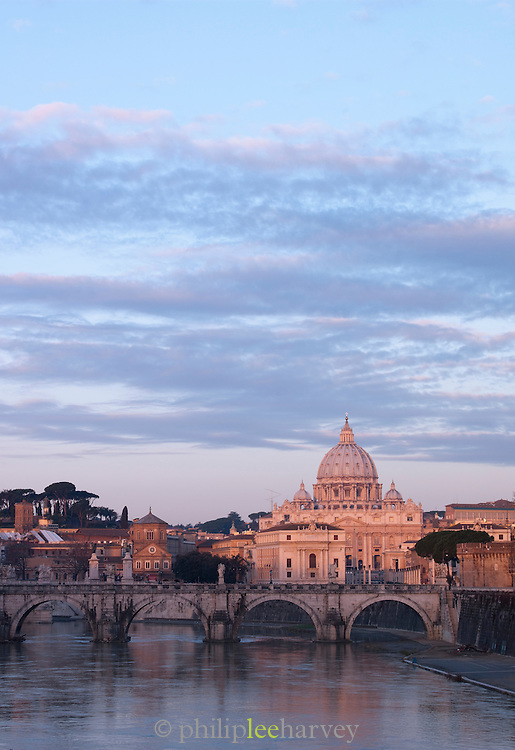 Saint Peter's Basilica, the Vatican City and the Tiber River at dawn, Rome, Italy
