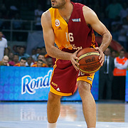 Galatasaray's Evren BUKER during their Turkish Basketball league Play Off Final third leg match Galatasaray between Fenerbahce Ulker at the Abdi Ipekci Arena in Istanbul Turkey on Thursday 09 June 2011. Photo by TURKPIX