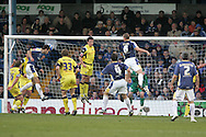 Cardiff City's Roger Johnson (left) rises to score his goal just before half-time. Coca Cola championship, Cardiff city v Preston NE at Ninian Park on Sat 6th Dec 2008. pic by Andrew Orchard,Andrew Orchard sports photography