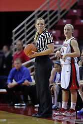 31 December 2009: Amanda Clifton awaits the ball from referee Kim Hobbs. The Bulldogs of Drake fall to the Redbirds of Illinois State University by a score of 77-58in a Missouri Valley Conference game on Doug Collins Court in Redbird Arena in Normal Illinois.