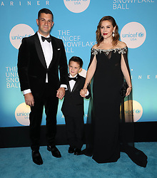David Bugliari, Milo Thomas Bugliari and Alyssa Milano at the UNICEF USA's 14th Annual Snowflake Ball in New York City.