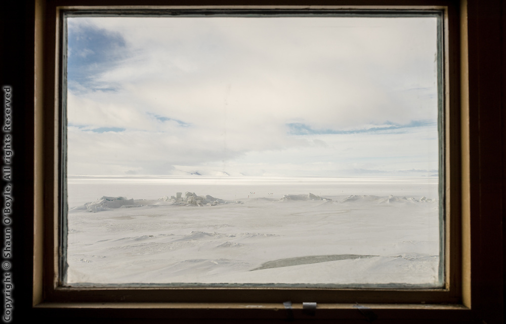 View from Hut A at New Zealand's Scott Base of the pressure ridges on the sea ice.