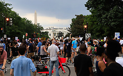 Counter-protesters line the street at Lafayette Square Park with the White House in the background in Washington, DC, USA on Sunday, August 12, 2018. Photo by Darryl Smith/TNS/ABACAPRESS.COM