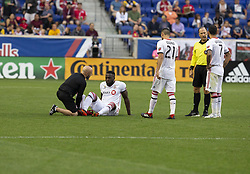 September 22, 2018 - Harrison, New Jersey, United States - Injured Jozy Altidore (17) of Toronto FC receives medicao attention during regular MLS game against New York Red Bulls at Red Bull Arena Red Bulls won 2 - 0 (Credit Image: © Lev Radin/Pacific Press via ZUMA Wire)