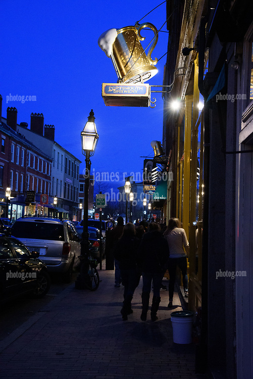 Friday Evening in Portsmouth NH on Market Street
