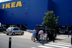 © Licensed to London News Pictures. 01/06/2020. Sheffield , UK. A couple load up in their car at the Ikea store in Sheffield , South Yorkshire. The furniture and housewares chain reopened some of their stores across England and Northern Ireland  since the lockdown began.  Photo credit: Ioannis Alexopoulos/LNP
