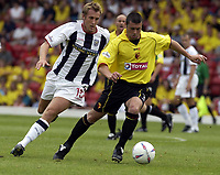 Copyright Sportsbeat Images. 0208 8768611<br />Picture: Henry Browne<br />Date: 23/08/2003<br />Watford v West Bromwich Albion Nationwide First Division<br />Watford's Paul Robinson is chased by West Brom's Rob Hulse