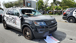 Massive amounts of protesters riot and burn dozens of police cars as they head to West Hollywood. 30 May 2020 Pictured: George Floyd protesters riot. Photo credit: APEX / MEGA TheMegaAgency.com +1 888 505 6342