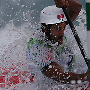 Daniele Molmenti, Italy, in action during his Gold Medal win in the Kayak Single (K1) Men Final during the Canoe Slalom competition at Lee Valley White Water Centre during the London 2012 Olympic games. London, UK. 1st August 2012. Photo Tim Clayton